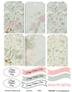 Free Printable Download - Shabby Chic Mother's Day Gift Tags - Vintage Glam Studio