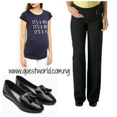 #maternity #t-shirt size 10 12 14 #5000 #trousers size 12 #5000 #loafers size 41 #7500 www.questworld.com.ng nationwide delivery. Pay on delivery in Lagos