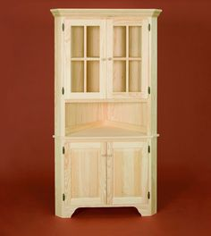 Corner Cabinet with Raised Panel and Glass Doors Gothic Furniture, Wood Furniture, Country Furniture, Furniture Plans, Corner Hutch, Corner Shelves, Platform Deck, Raised Panel Doors, Home Repairs
