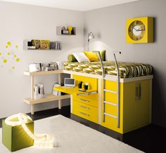 Yellow room by tumidei. Great solve for small spaces. #loft #bed. With the white it looks a bit hospital, but more color will make it cheerier.