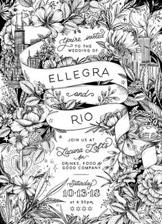 Artsy wedding invite, black and white illustration, super patterned and dense florals and Chicago skyline, custom hand-drawn branding. Maggie Enterrios