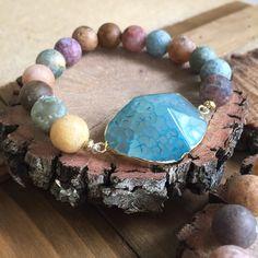 Aqua Agate & Ocean Agate Stretch Bracelet