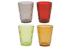 "Assorted colors, 2 sets of 4 Textured Glass Votive Holders.  2.88"" W x 3.25""H each Made of: glass Color: red/yellow/green/clear"