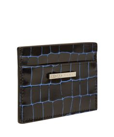 Kenzo Black and Blue Croc Effect Leather Cardholder | Accessories by Kenzo | Liberty.co.uk