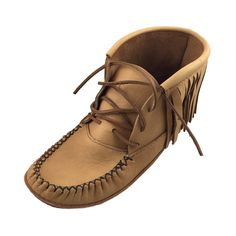 - Description - Details - Sizing - These men's moccasin boots are ankle high with a traditional Native style. They feature an added soft leather sole with a foam padded insole for added comfort. The m