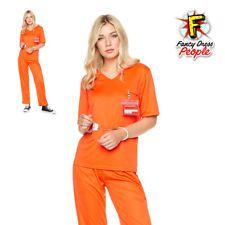 7c6c8b7d750b Find great deals for Womens Orange Inmate Costume Ladies Prisoner Convict  Uniform Fancy Dress Outfit.