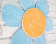 Blue and Yellow Daisy Wood Flower Sign Outdoor Patio Wall Hanging Flower Cut Out, Wood Cat, Cat Signs, Patio Wall, Outdoor Signs, Nature Decor, Handmade Wooden, Rustic Wood, Daisy