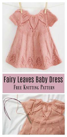 9fe7e1e8 Fairy Leaves Baby Dress Free Knitting Pattern #freeknittingpattern  #babydress Gratis Strik, Væv Strik
