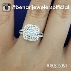 Round diamond double halo engagement ring from the Signature Benari Collection