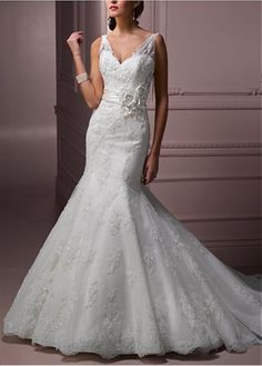 ELEGANT EXQUISITE TULLE SATIN MERMAID V-NECK WEDDING DRESS WITH LACE APPLIQUES LACE BRIDESMAID PARTY COCKTAIL GOWN FORMAL