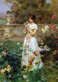 Vrouw in de tuin