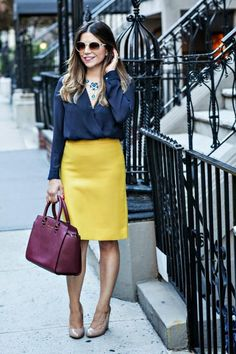 yellow pencil skirt / navy / burgundy / outfit