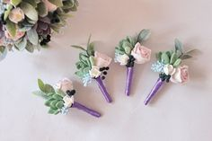 Wedding Boutonniere Grooms Button hole Rustic Groomsman Boutonniere Purple Lavender Wedding boutonni Groomsmen Boutonniere, Wedding Boutonniere, Wedding Bouquets, Succulent Boutonniere, Burgundy Bouquet, Button Hole, Wedding Keepsakes, Clay Flowers, Wedding Sets