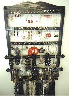 Double Bangle Jewelry Holder Organizer Ebony Black Oak