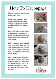 How to Decoupage/Decopatch for beginners More craft ideas Napkin Decoupage, Decoupage Tutorial, Decoupage Art, How To Decoupage Furniture, Decoupage Ideas For Kids, Wooden Furniture, Wood Crafts, Fun Crafts, Diy And Crafts
