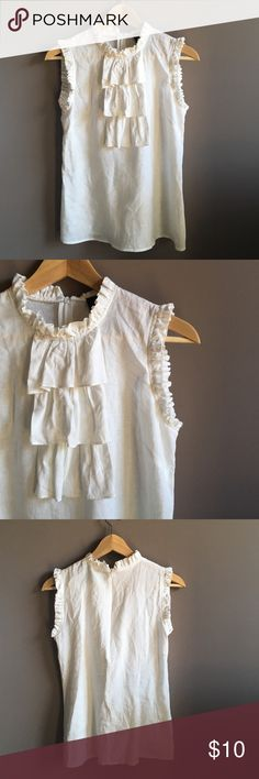 Cynthia Rowley Ruffle Top High-collar with adorable ruffle detail around it and the sleeves. Has a zipper on the back. Only worn once! Has a few wrinkles from sitting in storage, but no flaws! Cynthia Rowley Tops