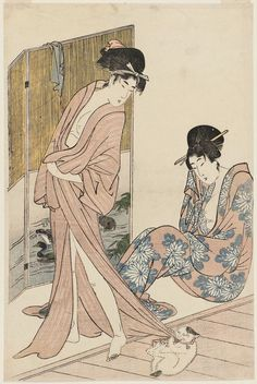 Women after the Bath Playing with a Cat 湯上り美人と猫 Japanese Edo period about 1803 (Kyôwa 3) Artist Kitagawa Utamaro I (Japanese, 1753–1806) Unsigned 無款