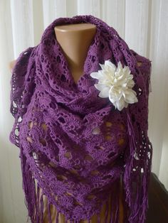 A personal favourite from my Etsy shop https://www.etsy.com/listing/461528006/plum-shawl-lace-crochet-shawl-all-season