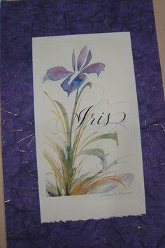 watercolor purple iris with beautiful script