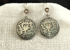 Vintage Taxco Sterling Silver Aztec, Mayan or Inca Design Earrings by MagicalUniverse on Etsy