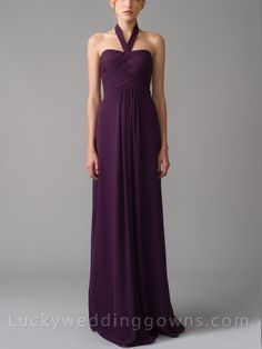 Plum Pacer Halter Draped Grecian Long Bridesmaid Gown