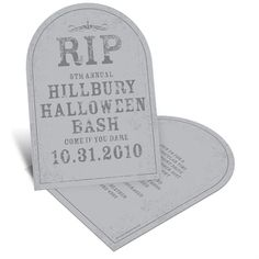 Spooky Tombstone -- Unique Halloween Party Invitations