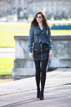 Sheer navy shirt and leather skirt. Accessorize with watch and 2 pieces of necklaces. Doina Ciobanu leather skirt-9