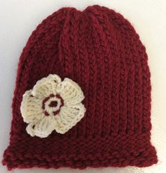 Red Hat with Cream Flower|Knitting Rays of Hope