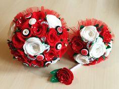 Felt rockabilly bouquets and buttonhole