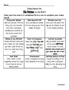 Students choose activities that explore their understanding of the book The Mitten by Jan Brett. First Grade, Second Grade, Grade 2, Deaf Children, Choice Boards, Jan Brett, 2nd Grade Reading, Author Studies, Teacher Newsletter