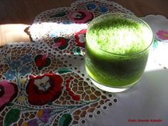 my grandma's embroidery and the green smoothie
