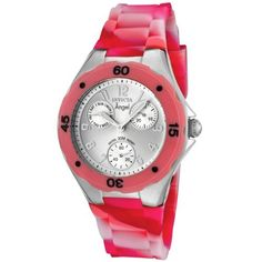 Invicta Women's 1495 Angel Silver Dial Multi-Colored Pink Silicone Watch Invicta. $69.95. Silver dial with silver tone hands and arabic numerals; Luminous; Pink unidirectional bezel with black arabic numerals. Water-resistant to 99 feet (30 M). 60 second, day and date white subdials. Flame-fusion crystal; Brushed and polished stainless steel case; Multi-colored pink silicone strap. Japanese-Quartz movement. Save 86%!