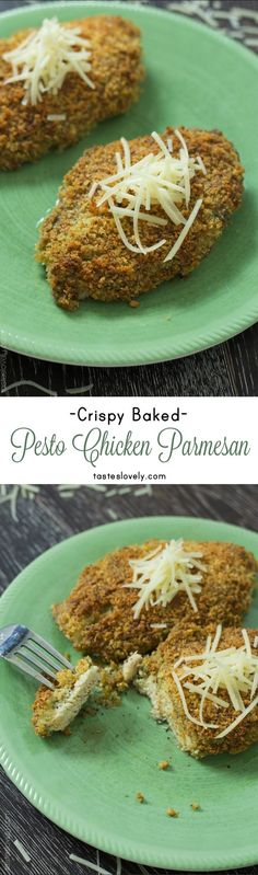 One of my families favorite dinners, Crispy Pesto Chicken Parmesan. Healthy since it's baked, and ready in 30 minutes!