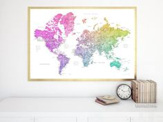 World map with cities, print in colorful gradient watercolor style, 36x24""