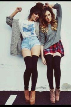 Can't ever go wrong with over the knee socks or thigh high socks!