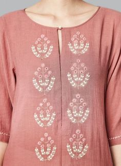Shop Anahita Tunic from Anita Dongre Embroidery Suits Punjabi, Embroidery On Kurtis, Kurti Embroidery Design, Embroidery Neck Designs, Embroidery Dress, Neck Designs For Suits, Dress Neck Designs, Blouse Designs, Silk Kurti Designs