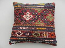 "Turkish Kilim Kilim Rug Pillow Cover 20"" x 20"" Kilim Rug Pillow"