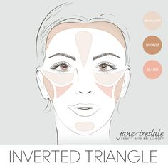 A makeup guide on how to apply highlighter, bronzer, and blush to an inverted triangle-shaped face.