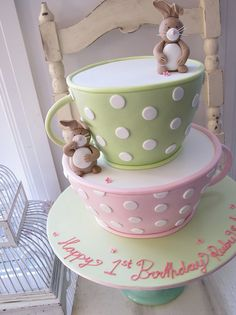 cute bunny teacup cake