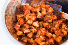 Crunchy cubes of korean radish pickled in a spicy mixture of chili flakes, scallions, ginger and salted brine shrimp. Kkakdugi is a popular kimchi paired with soups and stews.