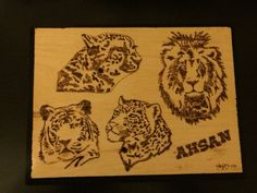 Googled big cat stencils and wood burned them for my boyfriend for Christmas