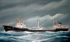 SS Gudvin a Norwegian flagged ship, I joined her in 1963 as officers steward, sailing between Sittingbourne in England and Remote logging areas of Northern Canada, we sailed empty across the Atlantic to Canada and sailed back full of timber logs to Bowwater Scott Paper Mill. The painting done for me by a German artist R Matthias in Hamburg, when the ship went there after being sold to a German company. 1964.