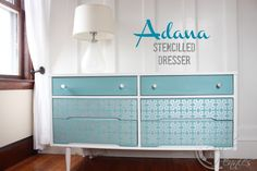Mid Century Dresser transformed using Chalk Paint® in Pure White and Provence and the Adana Stencil from Royal Design Studio with pearl oyster stencil creme.  Love how it came out!