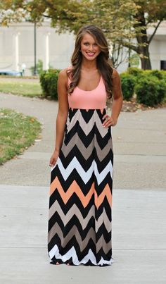 Coral Chevron Tank Maxi CLEARANCE | Dresses, Summer and Cute dresses