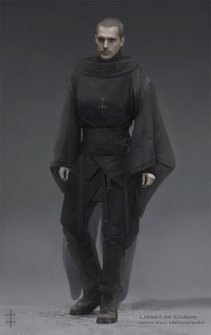 this outfit would have to be worn somewhere cold. Its black and has too many layers for it to work otherwise. The cloth is also very thick. But the style is worn comfortably and seems loose. I imagine this is casual wear for this person.