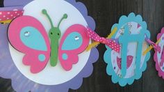 Girls Birthday banner in bright colors, Butterfly and Flower theme. on Etsy, $38.00