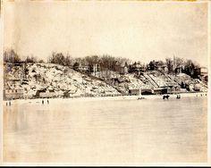 Hempstead Harbor in winter, Sea Cliff hillside in background, houses along Bay Avenue, 1906