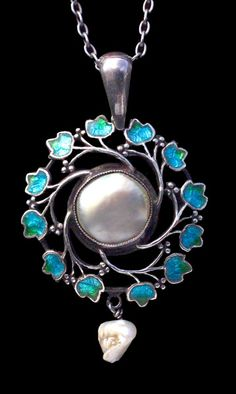 JESSIE M. KING 1873-1949 (Scottish)  Liberty & Co Pendant   Silver Enamel Pearl