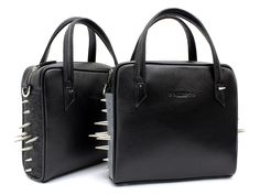 Leather bags with studs.