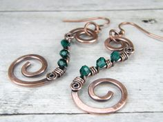 Emerald Green Wire Wrapped Copper Earrings, Copper Wire Spiral Earrings, Hammered Antiqued Copper Wire Wrapped Earrings
